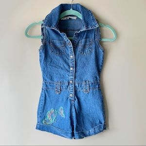 Magic Girl Denim Butterfly Embroidered Romper